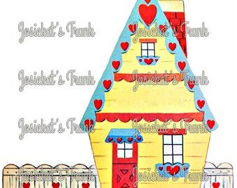 Valentine House Vintage Digital Download Vintage Image Heart Collage Large JPG PNG