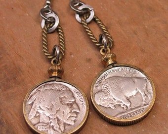 Coin Jewelry - Authentic Indian Head Buffalo Nickel Mixed Metal Dangle Earrings - Southwest Style