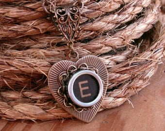 Heart Necklace - Typewriter Key Jewelry - Antique Brass Heart Shaped Typewriter Key Pendant - Black Initial E - Other Key Choices Available