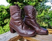 Tall ankle boot,  Lace up booties,  Brown ankle boot,  Leather lace up boot,  size 7 b USA women
