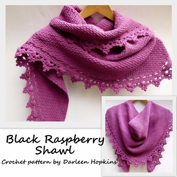 Crochet Pattern Shawl or Cowl, Scarf, Shawlette Black Raspberry dk sport worsted lace yarn INSTANT pdf DOWNLOAD with BONUS Frog Hat Pattern
