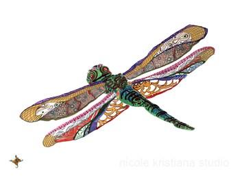 Dragonfly // home decor// Art Print// boho // dragonfly art // wall art Beach Gift