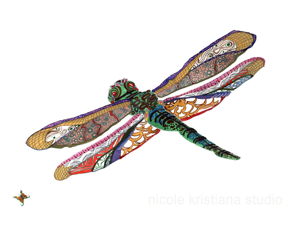 Dragonfly Home Decor Art Print Boho Dragonfly Art