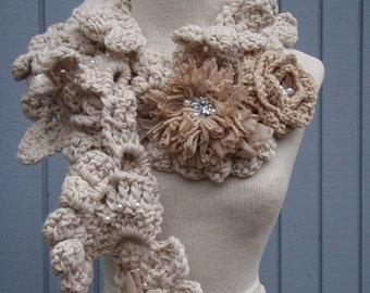 Crochet scarf, accessories scarf, women scarf, fall scarf, flower scarf, fashion scarf, handmade scarf, warm scarf, spring scarf, long scarf