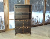 "48"" Tall Distressed Black Book Case Storage Unit Reclaimed Wood look TV cabinet Shabby Chic Contemporary  Entertainment Center Mini Bar"