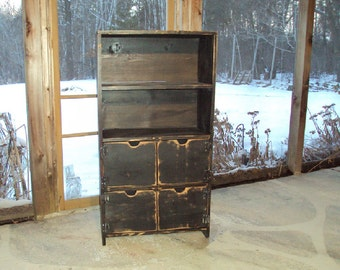 """48"""" Tall Distressed Black Book Case Storage Unit Reclaimed Wood look TV cabinet Shabby Chic Contemporary  Entertainment Center Mini Bar"""