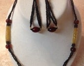 Beaded Tubes & Glass Set, maroon/black/gold