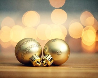 Holiday deocr, Christmas Ornament Photography, Gold Ornament, dreamy bokeh, gold yellow, circles, pastel, living room wall decor, navy blue