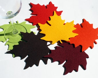 Autumn Wedding Drink Coasters Maple Leaf Favor 3mm Thick Merino Wool Felt Fabric Fall Leaves Felted Thanksgiving Housewarming Hostess Gift