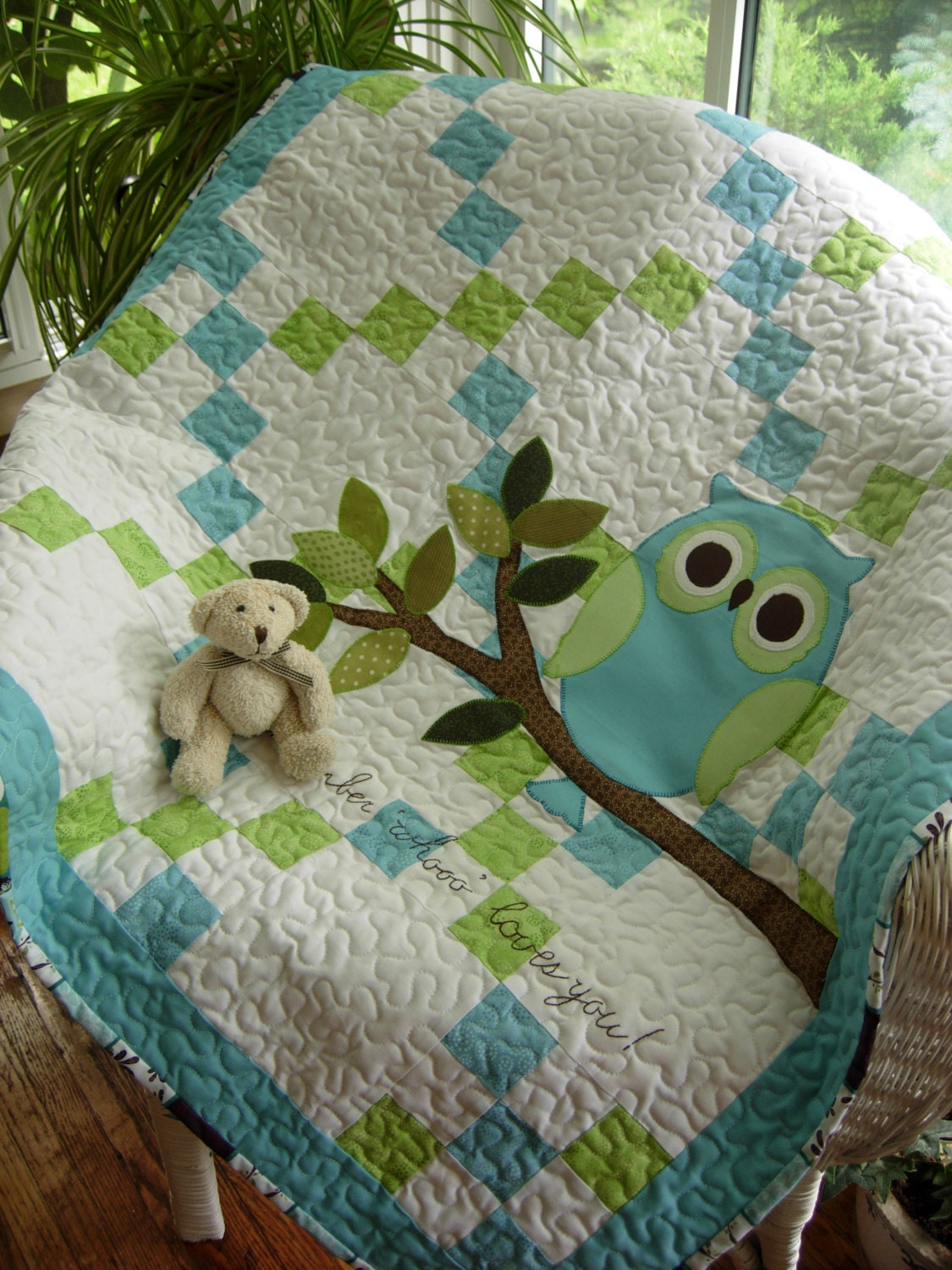 Remember Whooo Loves You Baby Boy Owl Quilt
