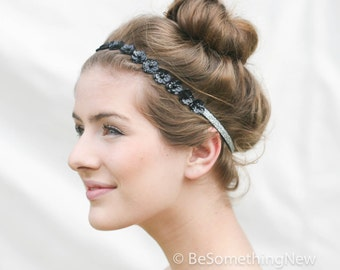 Black Sequin Flowers and Silver Elastic Headband, Bohemian Headband, Women Hair Accessory, Elastic Wrap Headband