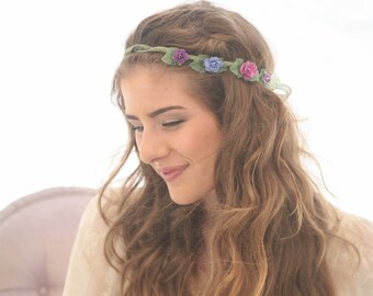 SALE Bohemian Hair Wreath with Flowers and Burlap Ribbon, Bridesmaids Hair Accessory, Wedding Hair, Flower Girl Wreath, Flower Crown