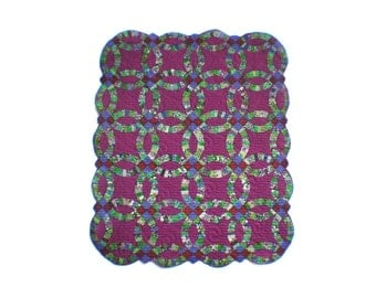 Miniature Illusion Quilt --- Purple Double Wedding Ring