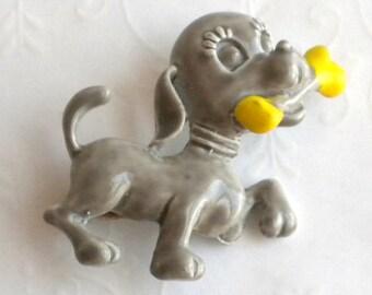 Gray Hound Dog with Bone Brooch - Vinatge Enamel Painted Figural Brooch