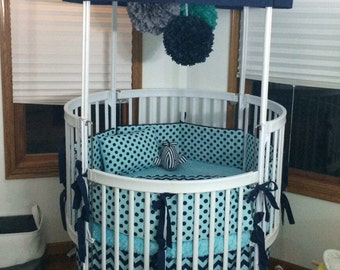 Custom Round Crib Bedding Aqua and Navy Made To Order