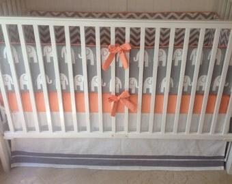 Crib Bedding Set Gray Peach Elephant