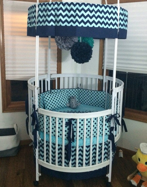 Aqua & Navy Round Crib Bedding Set by ButterBeansBoutique