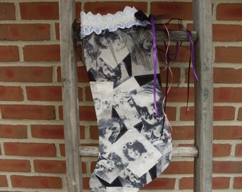 christmas stocking,hand made stocking,girl pictured stocking,Free Shipping ,Black and white stocking, stocking,home decor, made in Michigan