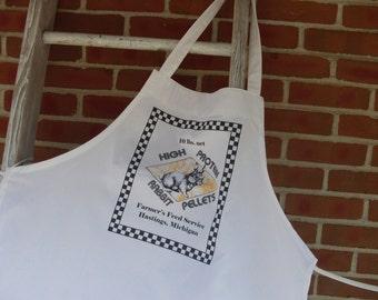 Apron Sale, white apron, feed sack apron, chef apron, kitchen apron, bunny apron, printed apron,cotton apron, feed sack