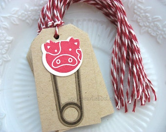 Cow Diaper Pin Baby Gift Tags, Baby Shower Gift Tags, red, kraft, cream, pretty packaging, southwestern parties, gift topper tag