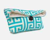 Aqua Blue Clutch Purse, Natural Ivory, Bridesmaid Gift, Geometric Clutch, Travel Makeup Bag, Gift for Her, Mom, Girlfriend, Wife