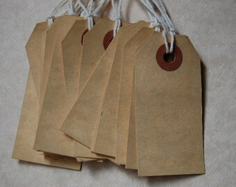 Extra Small Tea Stained Tags Strung with Natural Twine-2 3/4 x 1 3/8-Set of 25 Tags-Price Tag-Escort Card-Wedding-Favor-Manila-Ready to Ship