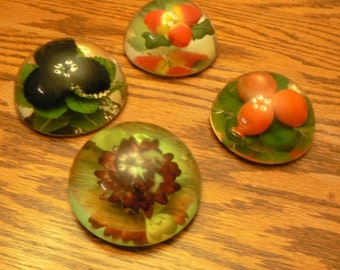 vintage office ... PAPERWEIGHT FLORAL FRUIT set of 4 resin paper weight ...