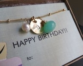 October birthstone necklace, initial necklace, personalized birthday gifts, October birthday card & gift, opal birthstone