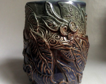 OOAK handmade Pottery Vase, highly decorated, signed