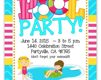 Pool Party Invitation, Pool Party Invite, Pool Birthday Invitation - custom design for YOU, 1st Birthday Invite, summer birthday