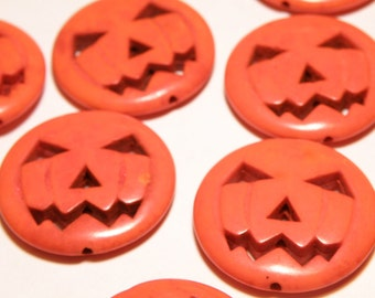 One (1) Carved Jack O' Lantern Orange Howlite Bead