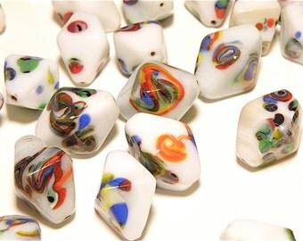 30% OFF -- DESTASH -- Three (3) Jumbo Vintage White and Multicolor Splatter Bicone Glass Bead - Lot Z