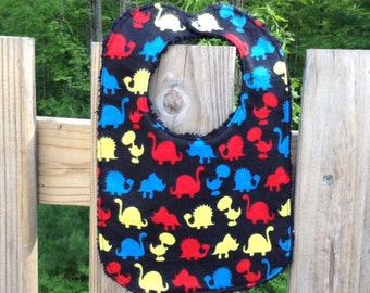SALE Flannel & Chenille Baby Bib, Snap Closure, Primary Dinosaurs on Black