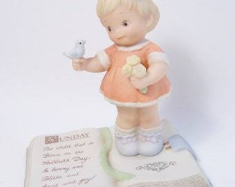 Vintage Enesco SALE Memories of Yesterday The Child Born On the Sabbath Day Figurine Lucie Atwell, 1993 Memories of Yesterday Collection