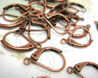 final lot -10%  / D401BZ / 20Pc / 14 x 9 mm - Antique Copper Plated Lever Back Ear Wires / Earrings Findings