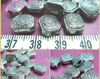 sales -40% / C202MZ / 50Pc / 200Pc / 11 x 8 x 4 mm - Antiqued Silver Metalized Plastic Octagon Pillow Bead