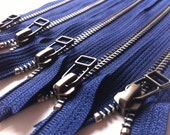 YKK metal zippers with antique brass finish and DHR style pull- (5) pieces - Navy 919- Available in 7,9,10,12,14,16 and 18 Inches