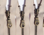 YKK Antique Brass Metal Donut Pull Zippers -(5) Pieces - Beige 572- Available in 7,8, or 10 inch