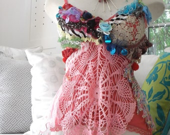 romantic boho gypsie eco tattered upcycled  recycled vintage lace one of a kind chemise top