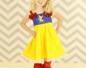 custom boutique twirl dress made with disney princess snow white patch 2-6