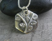 Handmade Siver Octagon Leaf Necklace OOAK by Artist in USA (Item 2368)