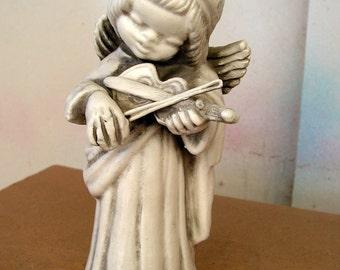 Angel Figurine Terra Cotta Pottery Ceramic Cherub Collectible Figure Playing Musical Instrument Mandolin Violin