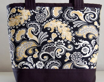 Yellow Swirly Fabric Tote Bag - READY TO SHIP