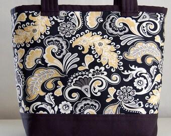 Yellow Swirley Fabric Tote Bag - READY TO SHIP