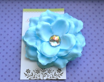 Ice Blue Flower Hairclip