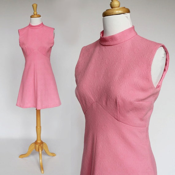 60's / 70's - Empire Waist Mini Dress / Pink /  Double Knit / XSmall to Small