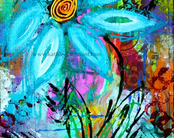 "Party Flower 8""x10"" Mixed Media Art Print, Unframed Art, Abstract Flowers, Abstract Art, Home Decorating, Interior Design"