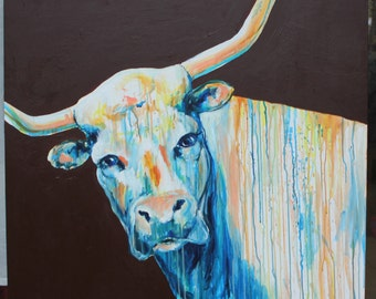 CUSTOM Original Longhorn Painting Commission 36x36