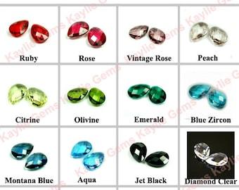 14x10 Tear Drop Pear Glass Jewel Double Faceted Checker Cut - 2pcs
