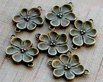 Cherry Blossom Flower Connector Links 2 Ring, 2 Sided - 6pcs
